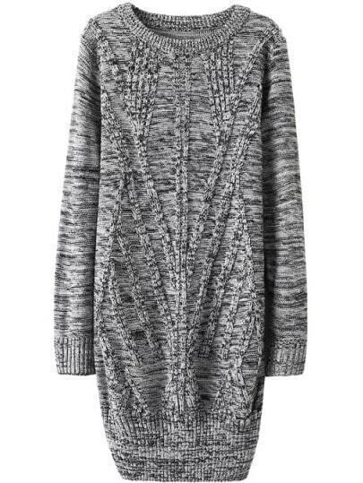 Cable Knit Long Pale Grey Pullover Fairisle Sweater