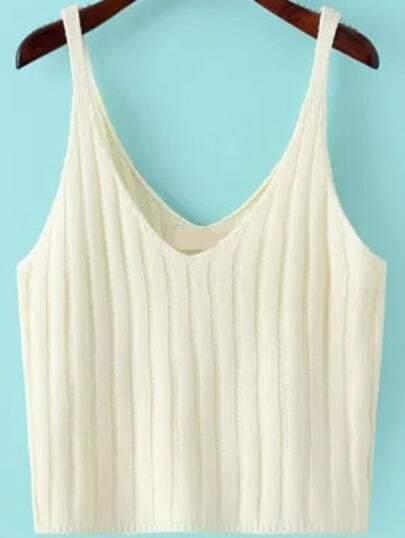 V Neck Knit White Cami Top