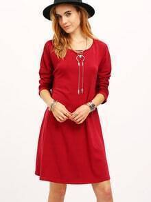 Wine Red Long Sleeve Casual Dress