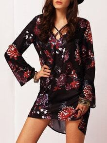 Black Flutter Long Sleeve Floral Dress