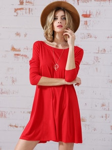 Red Long Sleeve Round Neck Casual Dress