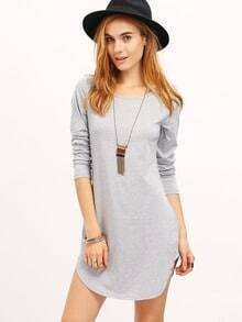 Grey Marl Long Sleeve Casual Dress