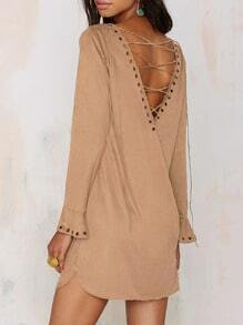 Bronze Mocha Apricot Long Sleeve V Back Dress