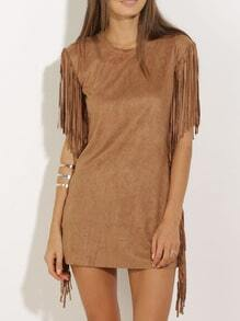 Fringe Bronze Camel Short Sleeve Tassel Dress