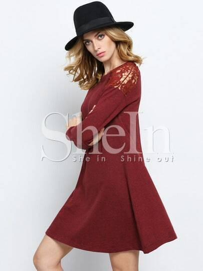 Wine Red Oxblood Round Neck With Lace Dress