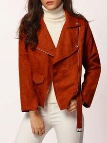 Brown Long Sleeve Lapel Jacket