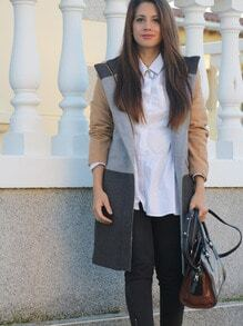 Grey Long Sleeve Pockets Color Block Coat