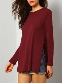 Wine Red Long Sleeve Split T-Shirt