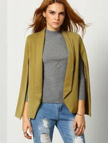Army Green Lapel Cape Blazer