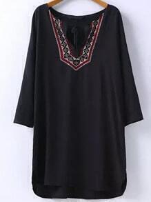 Black Tie-neck Embroidered Loose Dress
