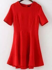 Red Round Neck Ruffle Skate Dress