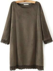 Brown Suede Round Neck Peplum Hem Loose Dress