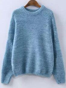 Blue Round Neck Vintage Knit Sweater