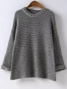 Grey Round Neck Rolled Sleeve Knit Sweater