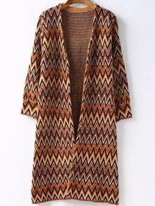 Khaki Long Sleeve Zigzag Tribal Cardigan