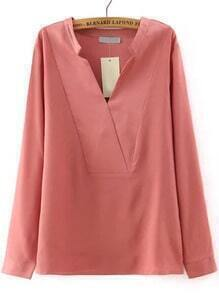Pink V Neck Long Sleeve Loose Casual Blouse