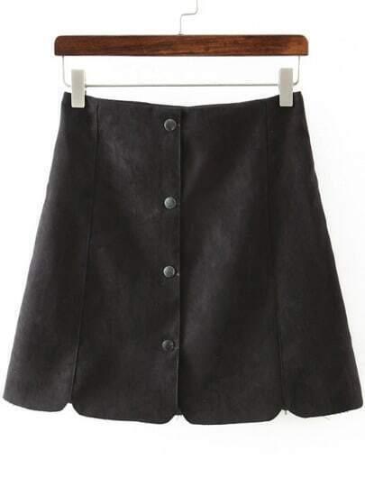 Black Buttons Scalloped Slim Skirt