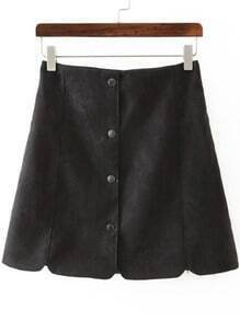 Black Buttons Scalloped Slim Skirt