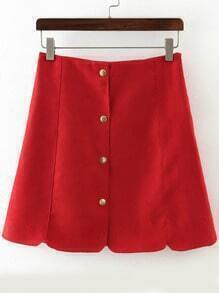 Red Buttons Scalloped Slim Skirt