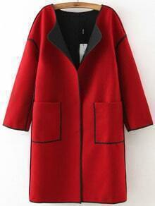 Red Long Sleeve Contrast Trims Casual Coat