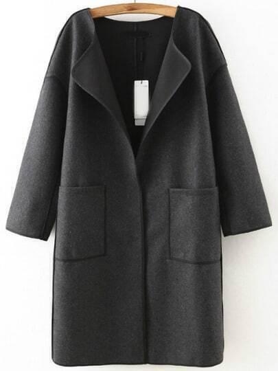 Grey Long Sleeve Contrast Trims Casual Coat
