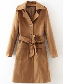 Khaki Lapel Tie-waist Trench Coat