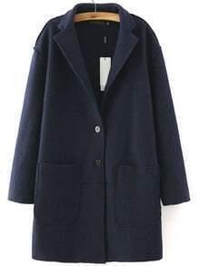 Navy Lapel Long Sleeve Pockets Casual Coat