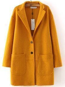 Yellow Lapel Long Sleeve Pockets Casual Coat