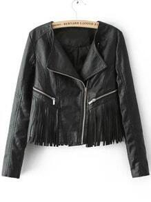 Black Long Sleeve Zipper Tassel Crop Jacket