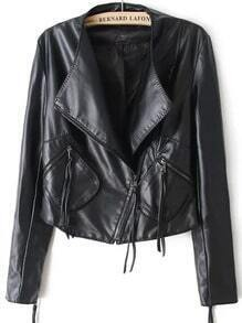 Black Oblique Zipper Crop PU Jacket
