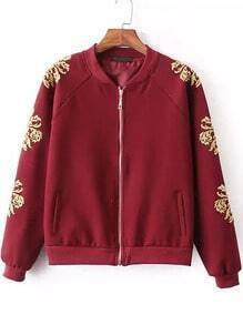 Red Stand Collar Zipper Embroidered Jacket