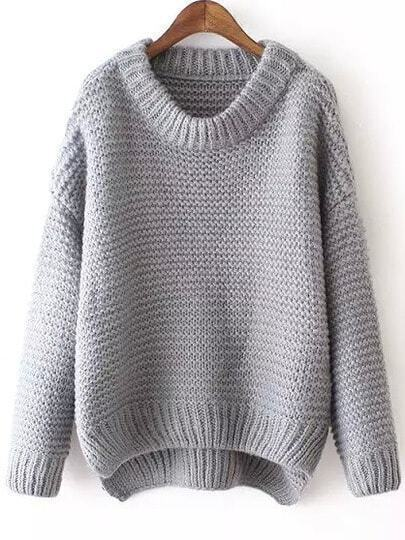 Grey Round Neck Dip Hem Knit Sweater