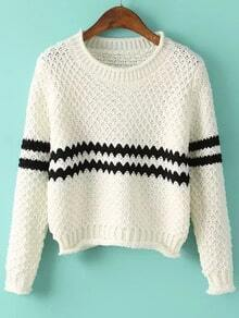 White Round Neck Striped Crop Knit Sweater