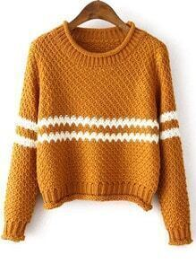 Yellow Round Neck Striped Crop Knit Sweater