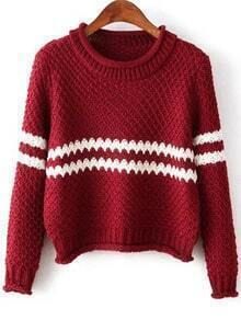 Wine Red Round Neck Striped Crop Knit Sweater