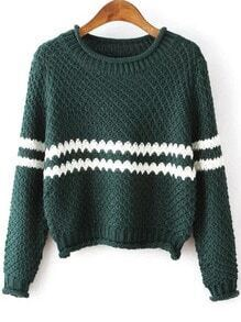 Green Round Neck Striped Crop Knit Sweater