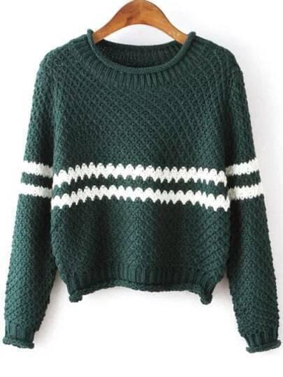 Green Round Neck Striped Crop Knit Sweater