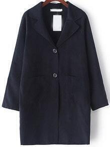 Navy Lapel Pockets Loose Coat