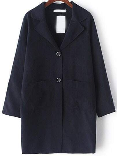 Navy Lapel Pockets Loose Coat