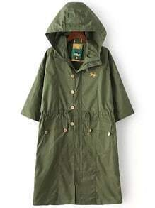 Army Green Hooded Dog Print Trench Coat