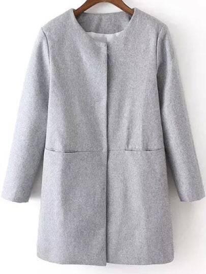 Grey Long Sleeve Loose Woolen Coat