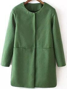 Green Long Sleeve Loose Woolen Coat