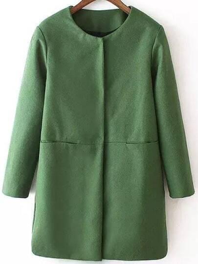 Green Long Sleeve Loose Woolen Coat