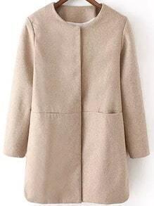 Apricot Long Sleeve Loose Woolen Coat