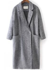 Grey Lapel Pockets Loose Trench Coat