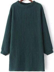 Green Round Neck Striped Pattern Loose Sweatshirt