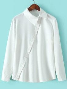 White Lapel Oblique Buttons Casual Blouse