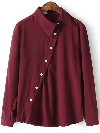 Wine Red Lapel Oblique Buttons Casual Blouse