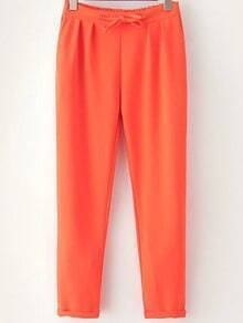 Orange Drawstring Waist Casual Pant