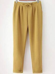 Yellow Drawstring Waist Casual Pant